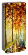 Hidden Path - Palette Knife Oil Painting On Canvas By Leonid Afremov Portable Battery Charger