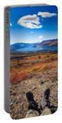 Hiker In Fall-colored Tundra Portable Battery Charger
