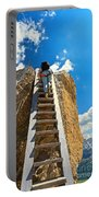 Hiker On Wooden Staircase Portable Battery Charger