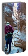 Hiking Through Narrow Slot Of Ladder Canyon Trail In Mecca Hills-ca Portable Battery Charger