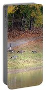 Hillside Of Canadian Geese Portable Battery Charger
