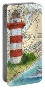 Hilton Head Island Lighthouse Sc Nautical Chart Map Art Cathy Peek Portable Battery Charger