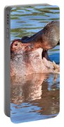 Hippo With Open Mouth In River. Serengeti. Tanzania Portable Battery Charger