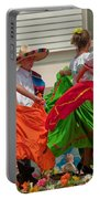 Hispanic Women Dancing In Colorful Skirts Art Prints Portable Battery Charger