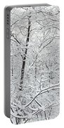 Hoar Frost Covered Trees In Forest Portable Battery Charger