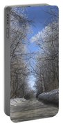 Hoar Frost On Campground Road Portable Battery Charger