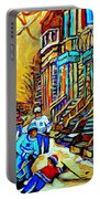 Hockey Art Montreal Winter Scene Winding Staircases Kids Playing Street Hockey Painting  Portable Battery Charger by Carole Spandau