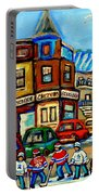 Hockey Art Montreal Winter Street Scene Painting Chez Vito Boucherie And Fairmount Bagel Portable Battery Charger