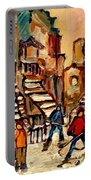 Hockey Game Near Winding Staircases Montreal Streetscene Portable Battery Charger by Carole Spandau
