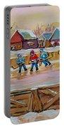 Hockey Game-outdoor Hockey -beautiful Canadian Winter Landscape-hockey Heroes-carole Spandau Portable Battery Charger