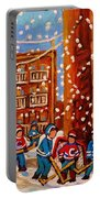 Hockey In The Laneway On Snowy Day Paintings Of Montreal Streets In Winter Carole Spandau Portable Battery Charger