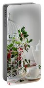 Holly And Berries Birdcage Portable Battery Charger