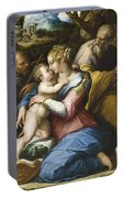 Holy Family With Saint Francis In A Landscape Portable Battery Charger