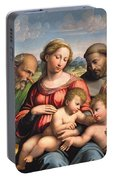 Holy Family With The Infant St. John The Baptist And St. Francis Portable Battery Charger