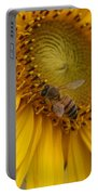 Honey Bee Close Up On Edge Of Sunfower...  # Portable Battery Charger