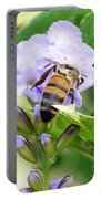 Honey Bee On Lavender Flower Portable Battery Charger