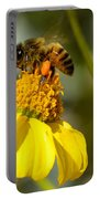 Honeybee Feasting On Nectar Of Yellow Flower Portable Battery Charger