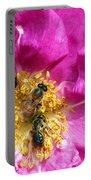 Honeybees On Pink Rose Portable Battery Charger