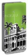Honolulu Skyline Iolani Palace - Olive Portable Battery Charger