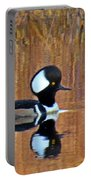 Hooded Merganser At Sunset Portable Battery Charger