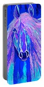 Horse Abstract Blue And Purple Portable Battery Charger