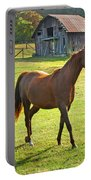 Horse And Old Barn In Etowah Portable Battery Charger