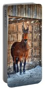 Horse And Snow Storm Portable Battery Charger