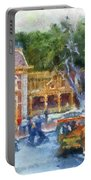 Horse And Trolley Turning Main Street Disneyland Photo Art 02 Portable Battery Charger
