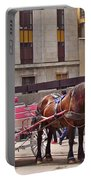 Horse Needs Water In Old Montreal-quebec-canada Portable Battery Charger