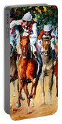 Horse Race - Palette Knife Oil Painting On Canvas By Leonid Afremov Portable Battery Charger