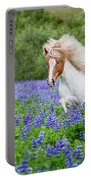 Horse Running By Lupines. Purebred Portable Battery Charger