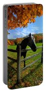 Horse Under Tree By Fence Portable Battery Charger by Dan Friend