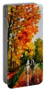 Horseback Stroll - Palette Knife Oil Painting On Canvas By Leonid Afremov Portable Battery Charger