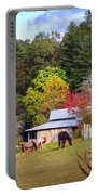 Horses And Barn In The Fall Portable Battery Charger