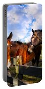 Horses At The Fence Portable Battery Charger