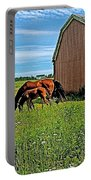 Horses By A Barn Along Confederation Trail-pei Portable Battery Charger