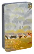 Horses Drinking In The Early Morning Mist Portable Battery Charger