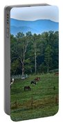 Horses Graze At Dawn Portable Battery Charger
