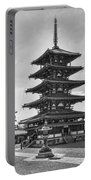 Horyu-ji Temple Pagoda B W - Nara Japan Portable Battery Charger