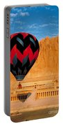 Hot Air Balloon Over Thebes Temple Portable Battery Charger
