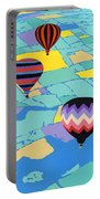 Abstract Hot Air Balloons - Ballooning - Pop Art Nouveau Retro Landscape - 1980s Decorative Stylized Portable Battery Charger