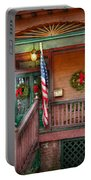 House - Porch - Metuchen Nj - That Yule Tide Spirit Portable Battery Charger by Mike Savad