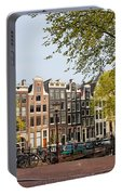 Houses On Singel Canal In Amsterdam Portable Battery Charger