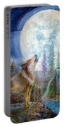 Wolf Howling And Full Moon Portable Battery Charger