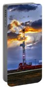 Sunset Over The Oil Rigs Portable Battery Charger