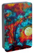 Huge Colorful Abstract Landscape Art Circles Tree Original Painting Delightful By Madart Portable Battery Charger
