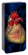 Human Heart On Blue Velvet Portable Battery Charger
