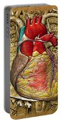 Human Heart Over Vintage Chart Of An Open Chest Cavity Portable Battery Charger
