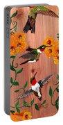 Hummingbirds On Cedar Portable Battery Charger