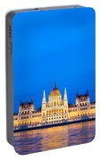 Hungarian Parliament Building At Dusk Portable Battery Charger